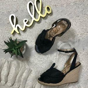 Sam Edelman 'Aubrey' black wedge espadrille sandal